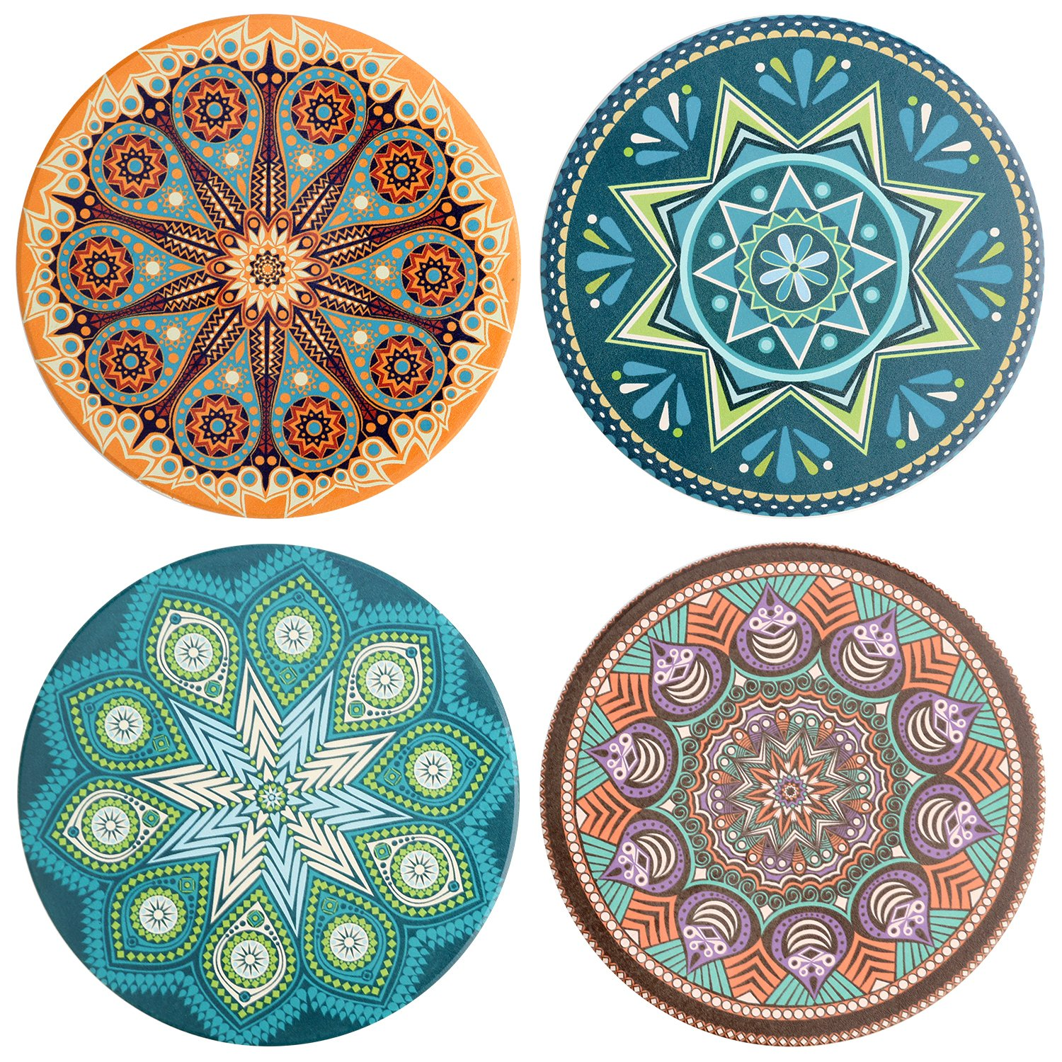 IPHOX Drink Coasters - Absorbent Stone Coasters Set with Cork Base, Avoid Scratching Furniture, Suitable for Kinds of Mugs and Cups, 4 Pack (Bohemia Style #1)