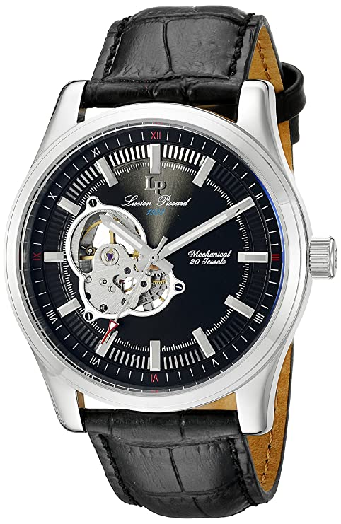 Amazon.com: Lucien Piccard Morgana Open Heart Mechanical Hand Wind Mens Watch LP-40006M-01: Watches
