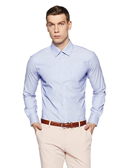 0ba056dc Park Avenue Men's Solid Slim Fit Formal Shirt (PMSY10102-B4_Medium Blue_39)