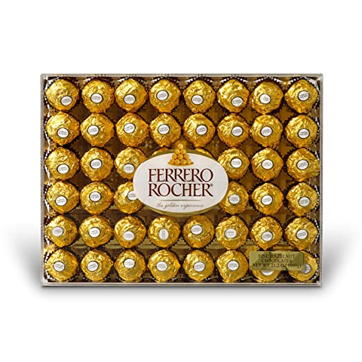 Ferrero Rocher Fine Hazelnut Chocolates, 48 Count, Chocolate Gift Box for Valentines Day candy, 21.2 oz