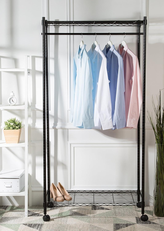 logei/® Perchero de ropa perchero enrollable extensibles estante perchero armario telesc/ópica plegable ruedas soporte Secadora gris