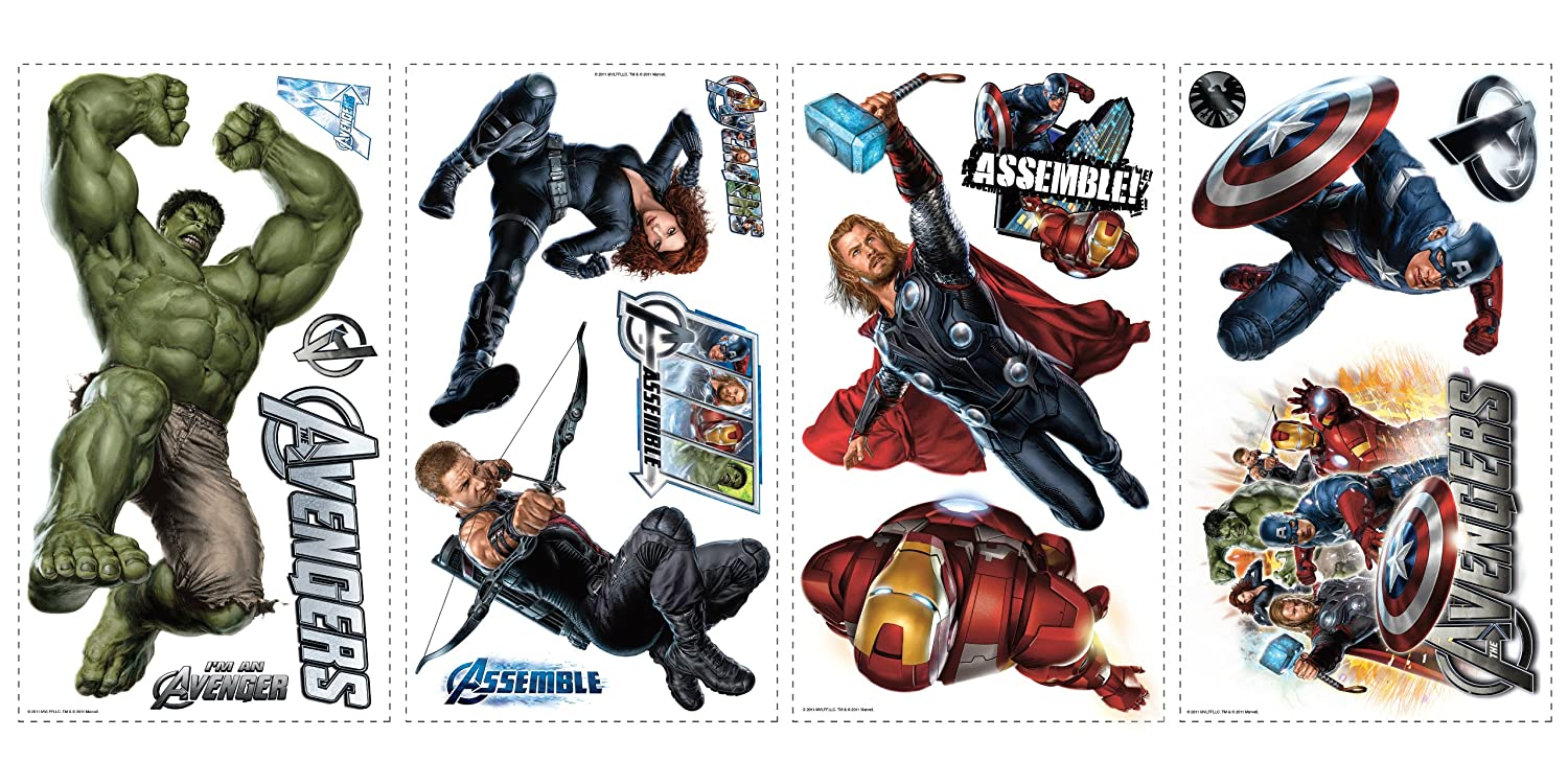 RoomMates RMKSCS Avengers Peel And Stick Wall Decals - Vinyl wall decals avengers