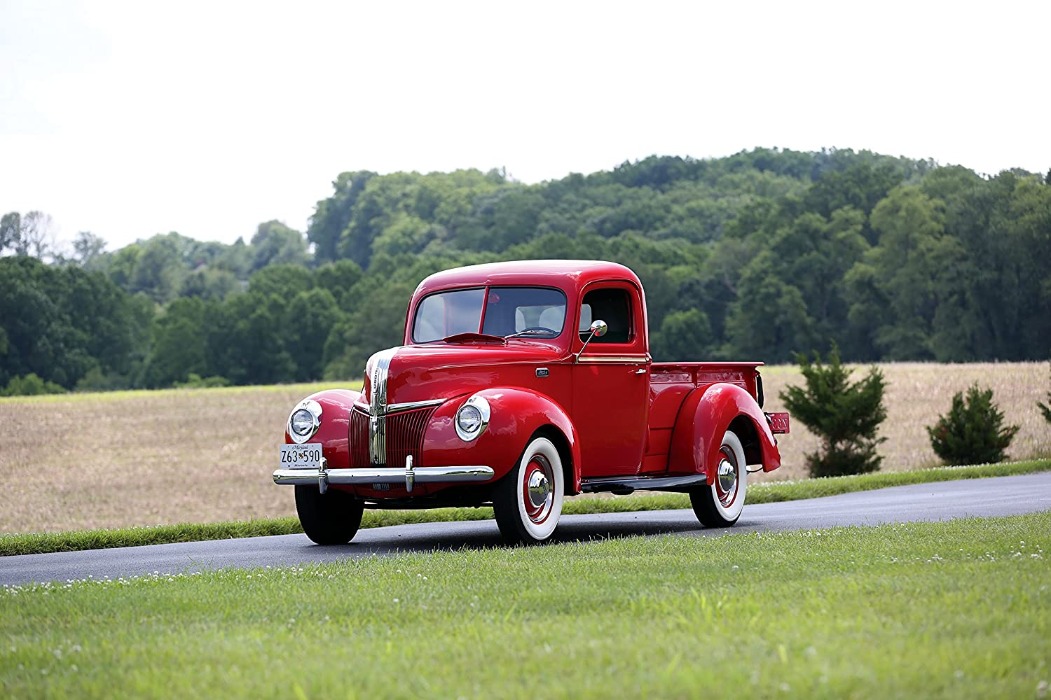 Ford Deluxe Pickup 1941 Truck Print On 10 Mil Archival Front Fenders Satin Paper Red Side Static View 11x17 Posters Prints