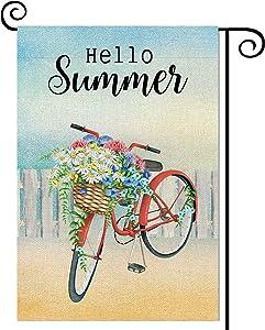 Balgardekor Hello Summer Garden Flag Vertical Double Sided Burlap Flower Bicycle Summer Yard Outdoor Decor Home Decor (12.5 x 18, Hello Sunshine)