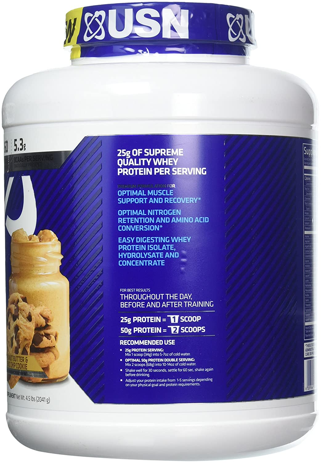 USN Supplements Bluelab 100 Percent Whey, Peanut Butter Chocolate Chip, 4.5 Pound