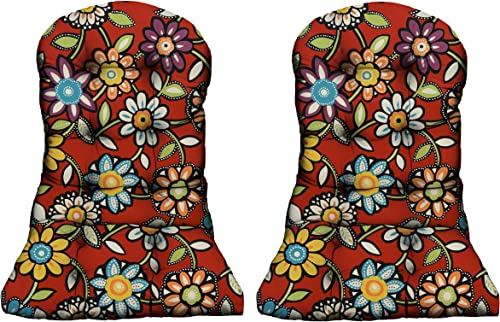 RSH DECOR – Indoor Outdoor Tufted Adirondack Chair Seat Cushion Choose Size and Quantity 2, Red Wilder Contemporary Floral