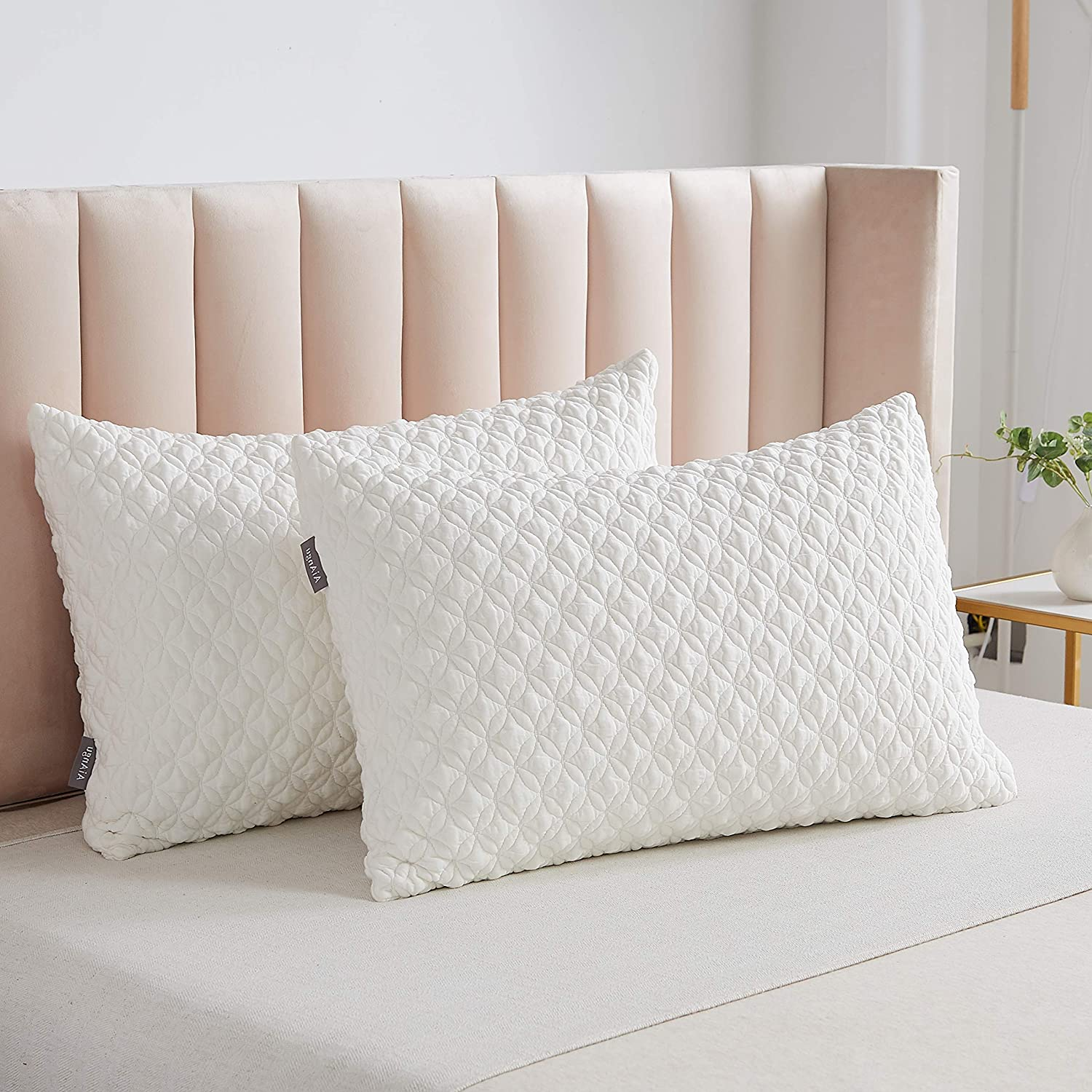 SONORO KATE Foam Pillow for Sleeping Shredded Bed Bamboo Cooling Pillow with Adjustable Loft 3D Design Hypoallergenic Washable Removable Derived Rayon Zip Cover (White(1-Pack), King)