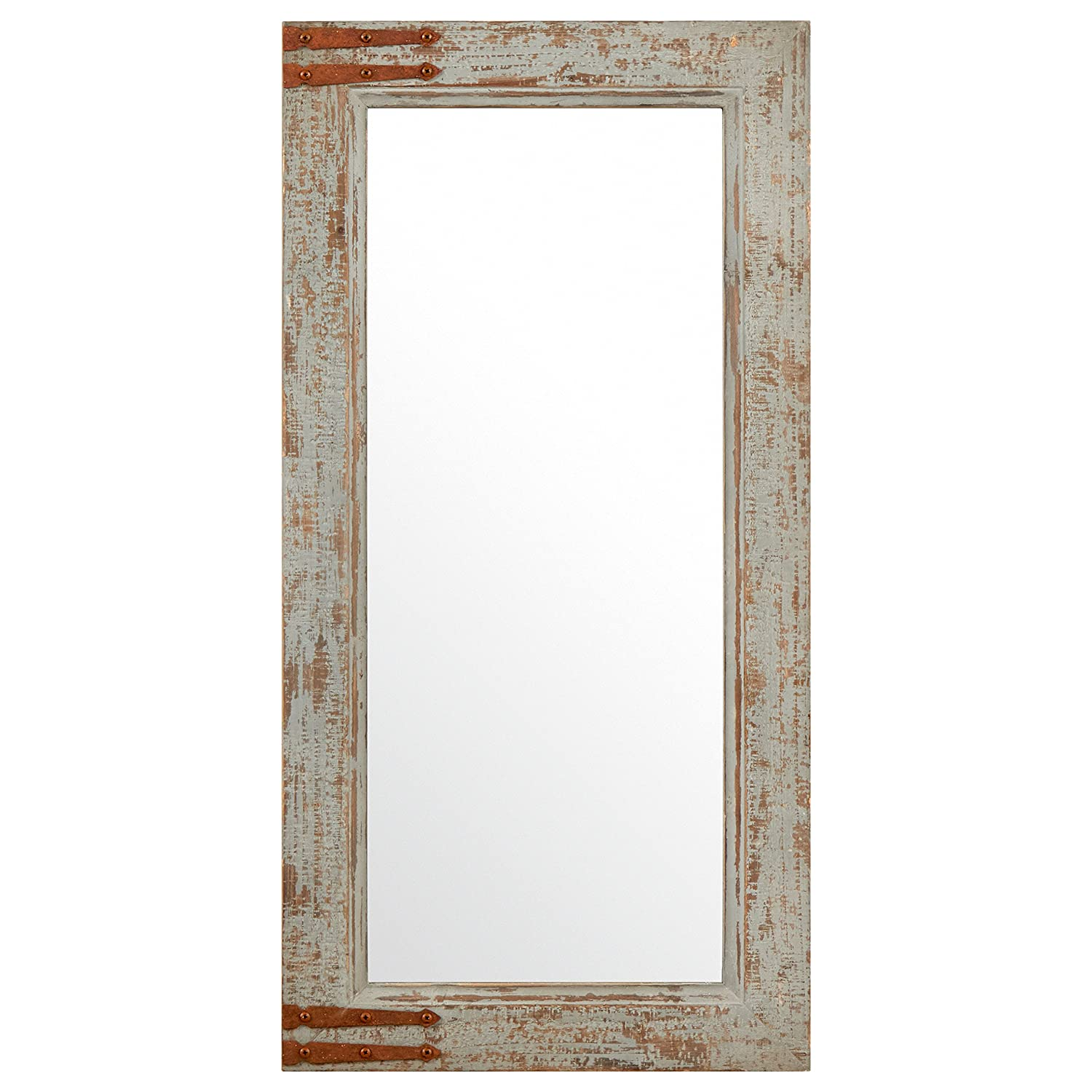 "Stone & Beam Vintage-Look Rectangular Frame Mirror, 36.25""H, Grey"