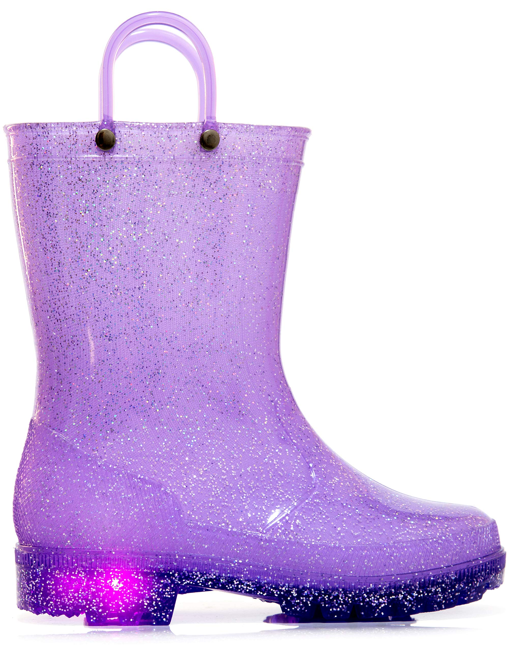 MOFEVER Toddler Girls Kids Light up Rain Boots Waterproof Shoes Glitter Lightweight Cute Lovely Funny with Easy-on Handles (Size 7,Purple)