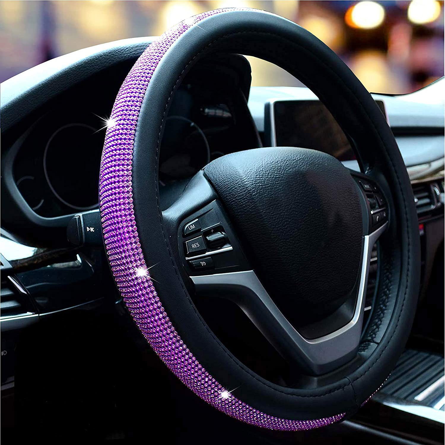 New Diamond Leather Purple Steering Wheel Cover with Bling Bling Crystal Rhinestones Universal Fit 15 Inch Anti-Slip Wheel Protector for Women Girls Purple