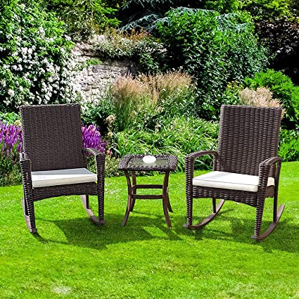 Cool Tangkula 3 Piece Patio Furniture Set Wicker Rattan Outdoor Patio Conversation Set With 2 Cushioned Chairs End Table Backyard Garden Lawn Chat Set Home Interior And Landscaping Ponolsignezvosmurscom