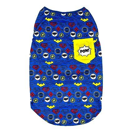 568a5969e543 Amazon.com : DC Comics Sleeveless T-Shirt for Dogs | DC Superheroes Logo Pattern  Dog Tank Top | Blue, Large : Pet Supplies