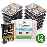 Meal Prep Container {12 Pack}  3-Fach Containers |  Food Box Wiederverwendbar und Luftdicht, Microwellen-, Gefrierbox- und Spülmaschinenfest | Kunststoff Bento dosen | Stapelbar | GRATIS eBook+ 5 saucenbecher!