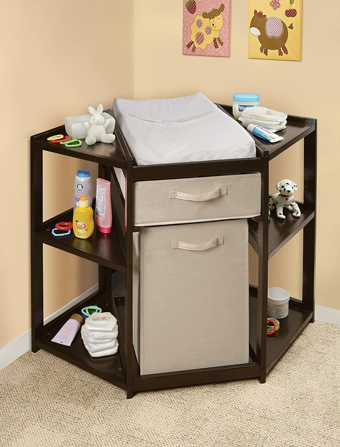 Lovely Amazon.com : Badger Basket Baby Changing Table With Hamper And Basket,  Espresso : Corner Changing Table : Baby
