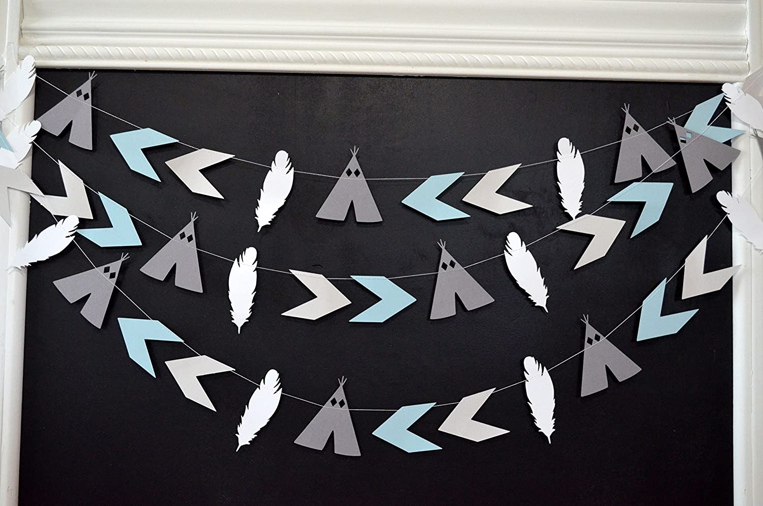 boho chic party camping party decor tribal party decorations Teepee arrow feather garland Aztec party arrow decorations