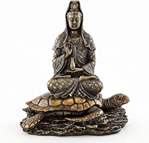 Top Collection Quan Yin Rising from The Sea Statue - Kwan Yin Goddess of Mercy and Compassion Sculpture - 6.5-Inch Guan Yin on Sea Turtle Collectible Buddhist Figurine (Cold Cast Bronze)