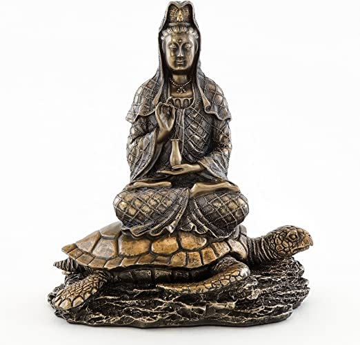 CHINESE BRONZE COLLECTABLE CASTING BUDDHISM KWAN-YIN STATUE ORNAMENT