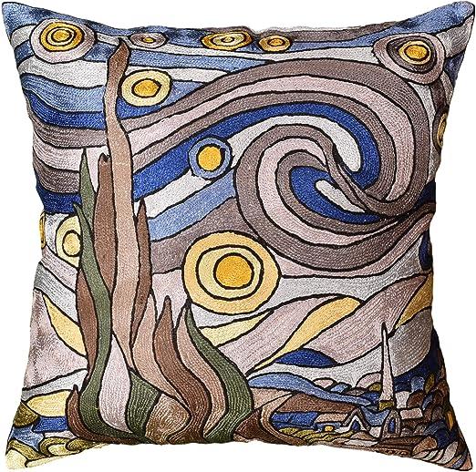 Amazon Com Kashmir Designs Starry Night Blue Throw Pillow Cover Van Gogh Blue Throw Pillows For Couch Farmhouse Chair Pillowcase Mid Century Sofa Pillows Hand Embroidered Cushions Art