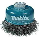 """Makita 1 Piece - 3 Inch Crimped Wire Cup Brush For Grinders - Light-Duty Conditioning For Metal - 3"""" x 5/8-Inch 