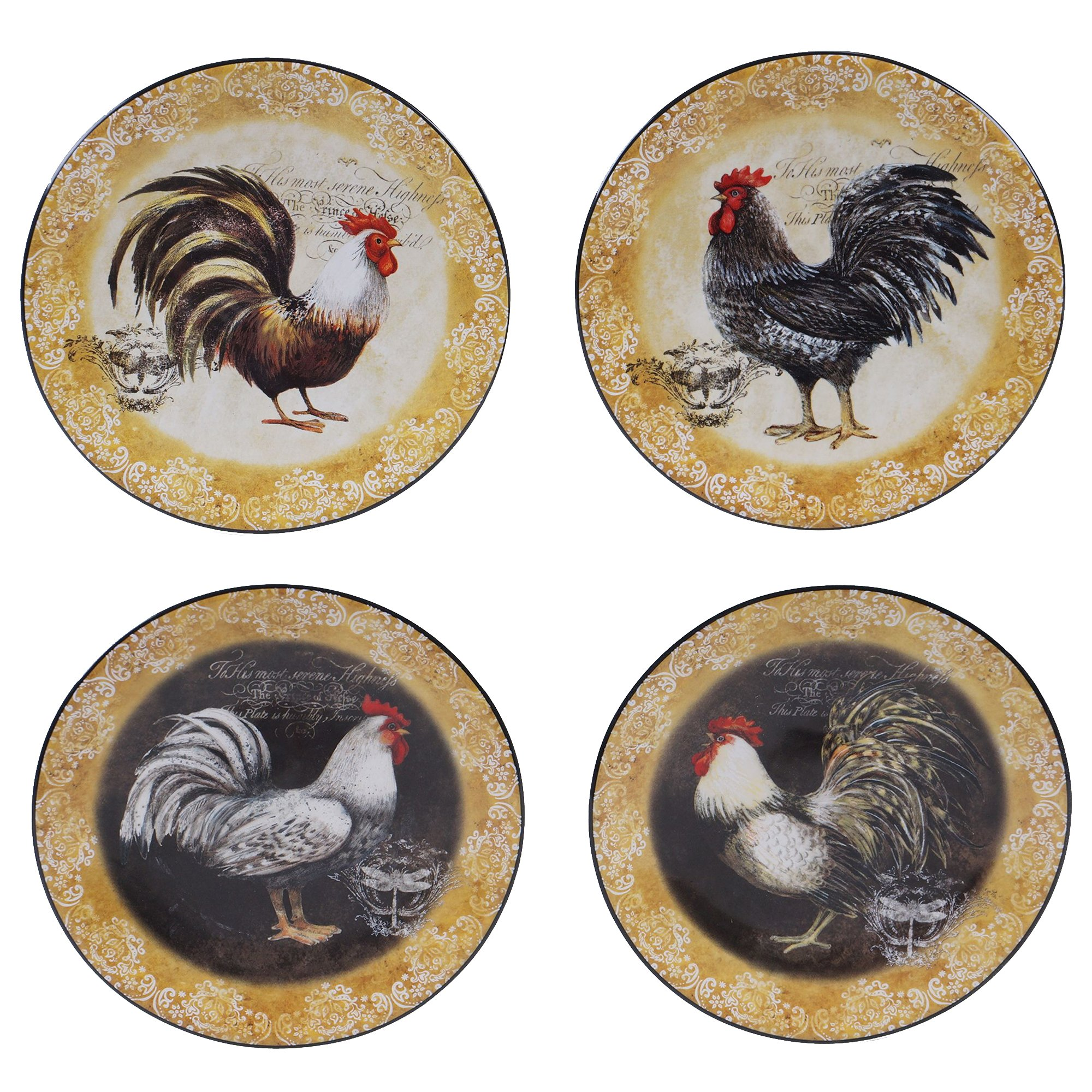 Certified International 57490SET/4 Vintage Rooster Canape Plates (Set of 4), 6.25'', Multicolor