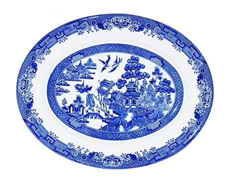 Churchill Blue Willow Fine China Earthenware Oval Dish 12.5u0026quot; Made In England  sc 1 st  Amazon.com & Amazon.com | Churchill Blue Willow Fine China Earthenware Oval Dish ...
