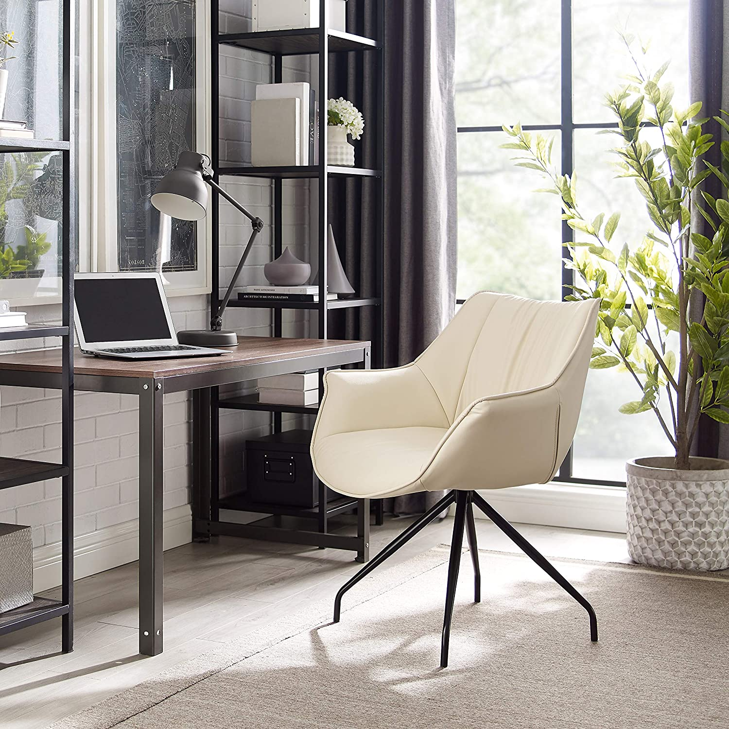 Volans Modern Mid Back Leather Upholstery Home Office Chair with Armrest, No Casters in Black Metal Legs Swivel Desk Chair, Off White