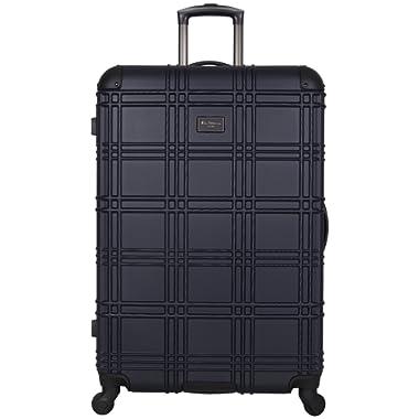 Ben Sherman Nottingham 28-inch Check-Size Lightweight Durable Hardshell 4-Wheel Spinner Upright Luggage, Navy