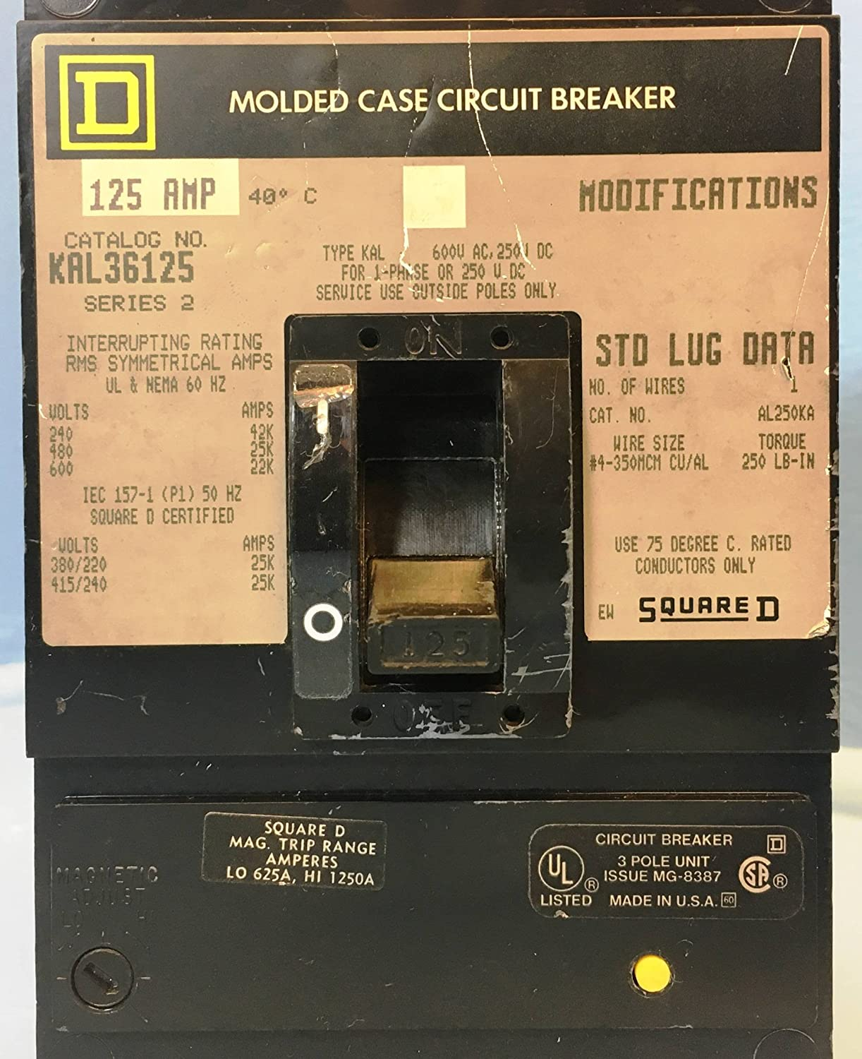 Square d kal36125 125a circuit breaker 600v 3 pole kal 36125 125 amp square d kal36125 125a circuit breaker 600v 3 pole kal 36125 125 amp bad label amazon industrial scientific keyboard keysfo