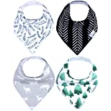 "Baby Bandana Drool Bibs for Drooling and Teething 4 Pack Gift Set For Boys ""Woodland Set"" by Copper Pearl"