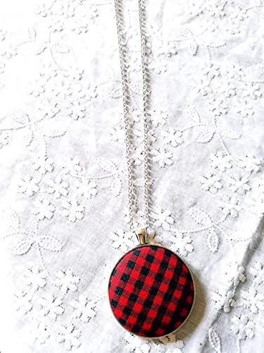 Red and Black Plaid Fabric Button Earrings, Necklace or Set