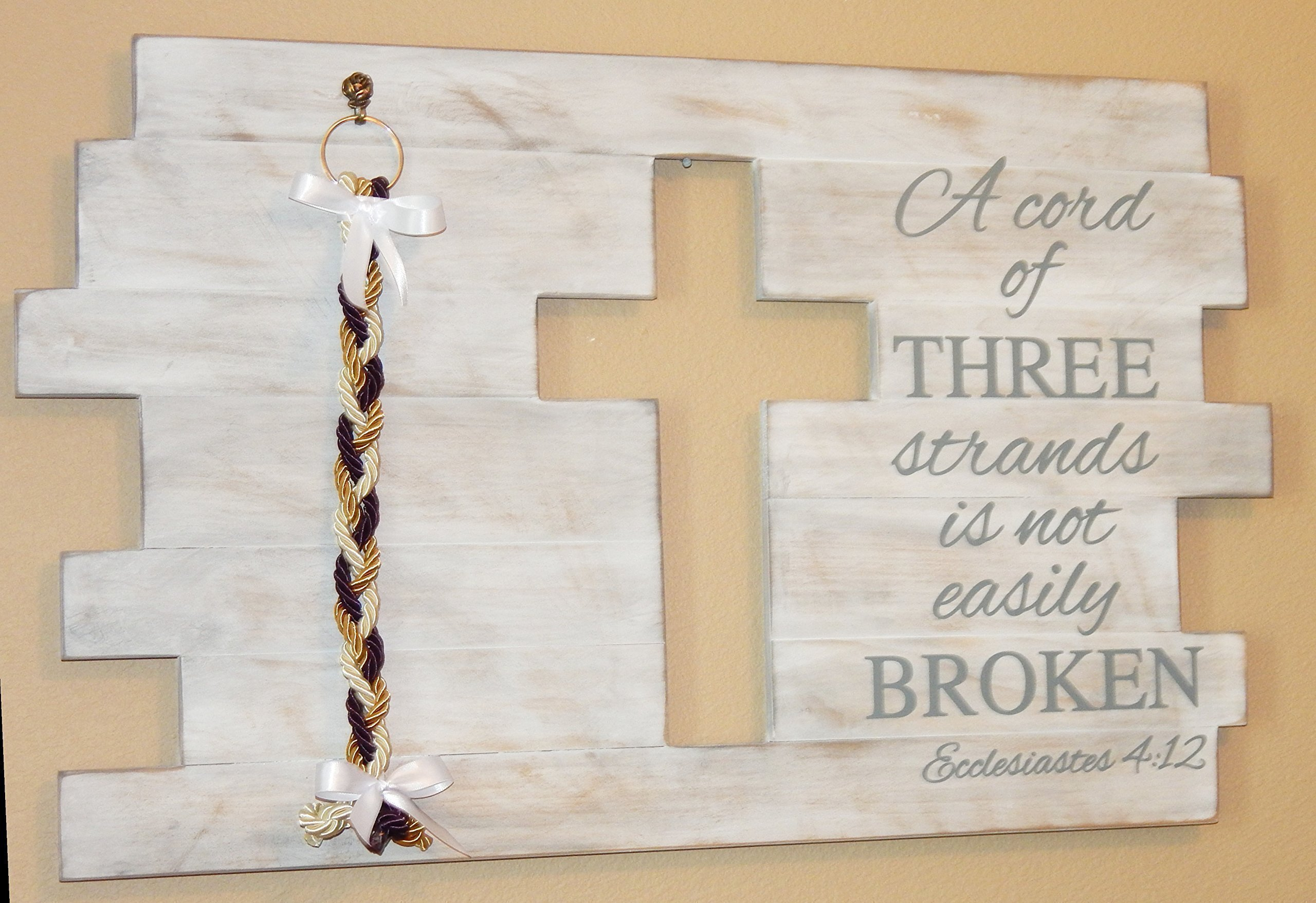 Gods Wedding Cross Board Sign Whitewash A Cord of Three Strands by Unity Braids®