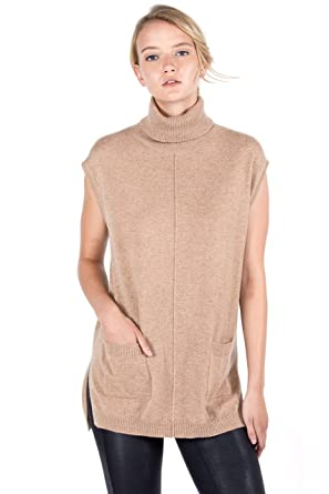 2c56b950956a6 JENNIE LIU Women s 100% Pure Cashmere Sleeveless Turtleneck Hi-Lo Tunic  Sweater at Amazon Women s Clothing store