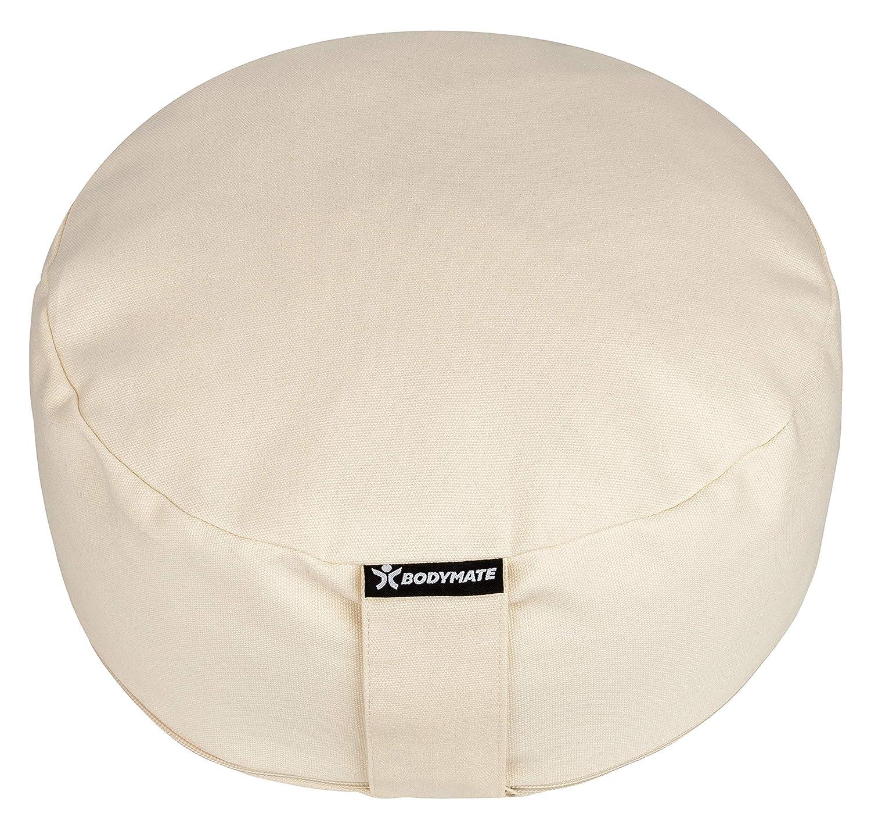 BODYMATE Cojín de meditación Yoga ø31cm Altura 13cm - Cáscara de Trigo sarraceno Relleno en Bolsa de algodón Extra - Funda de algodón Lavable
