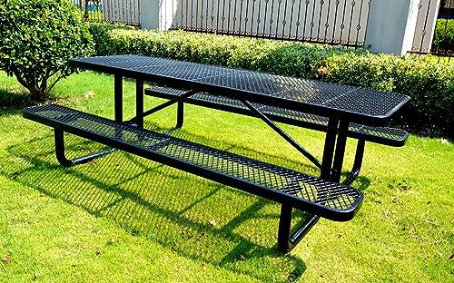 Lifeyard 8 Rectangular Picnic Table, Expanded Metal, Black 96 Long