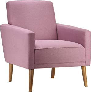 Cortesi Home Ayden Mid-Century Modern Armchair Accent Chair Lilac Fabric