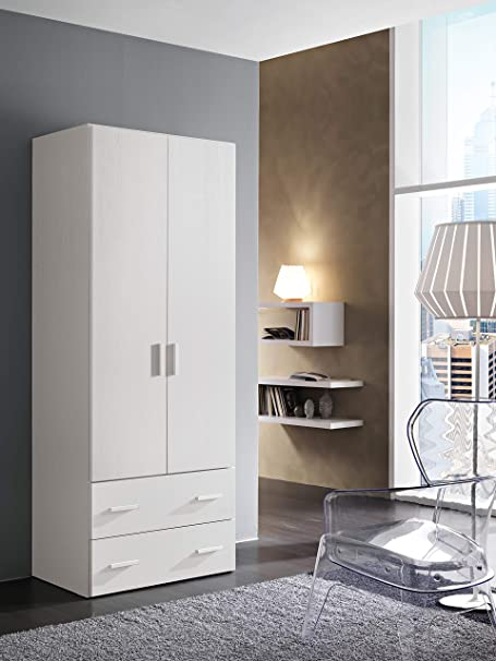 Mis InHouse srls Armadio in Legno 2 Ante Color Bianco Frassinato H 211 x L 82,6 x P 53,3 cm 2 cassetti