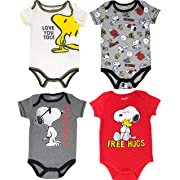 Peanuts Snoopy Baby Boys' 4 Pack Bodysuits Charlie Brown Woodstock Joe Cool 3-6M