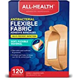 All Health Antibacterial Flexible Fabric Adhesive Bandages, Assorted Sizes Variety Pack, 120 ct   Helps Prevent Infection, Fl