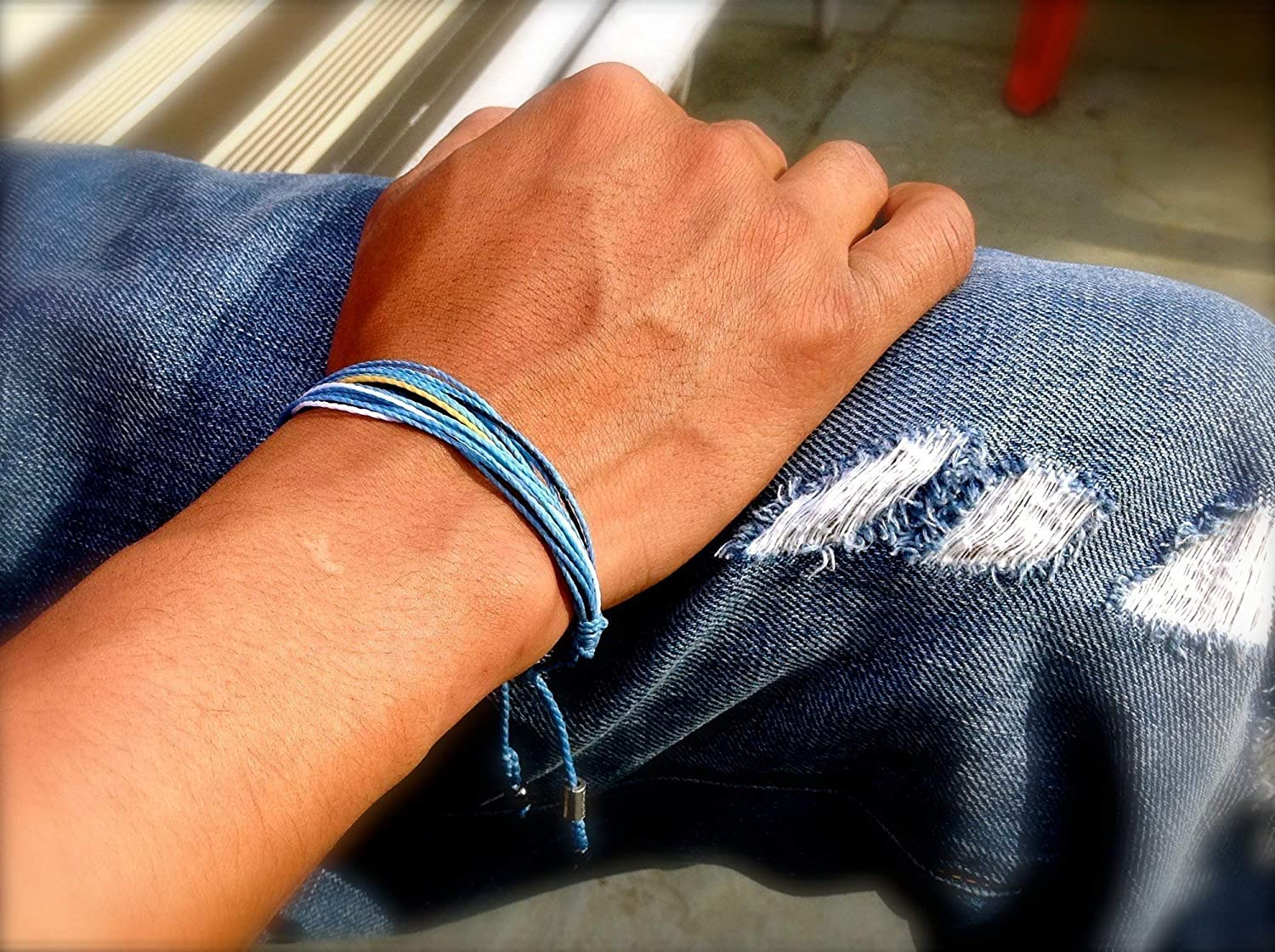White RUMI SUMAQ Argentina Soccer Bracelet in Flag Colors Blue Black and Yellow for Men and Women with Hematite Stones