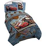 Disney/Pixar Cars Tune Up Blue/Gray Twin/Full Reversible Comforter with Plush Reverse Featuring Lightning McQueen & Mater (Official Disney/Pixar Product)