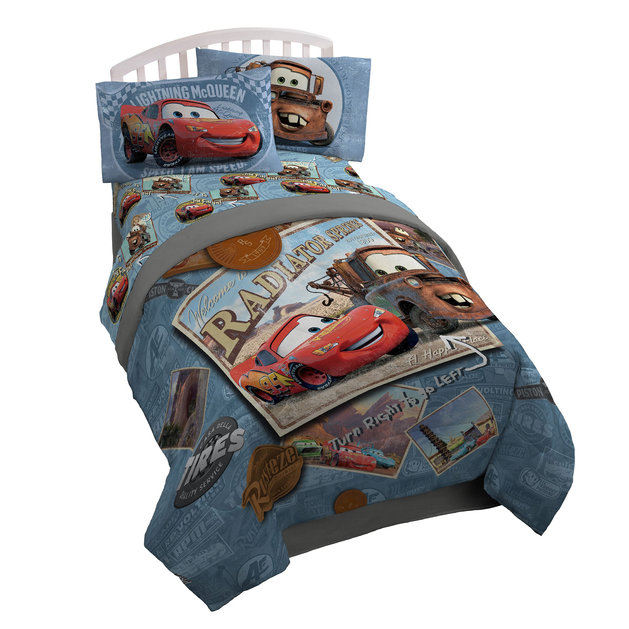 Disney Pixar Cars Tune Up Twin/Full Comforter - Super Soft Kids Reversible Bedding features Lightning McQueen and Mater - Fade Resistant Polyester Microfiber Fill (Official Pixar Product)