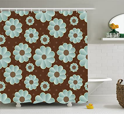 Ambesonne Brown And Blue Shower Curtain Retro Daisy Pattern With Polka Dot Background Abstract Design