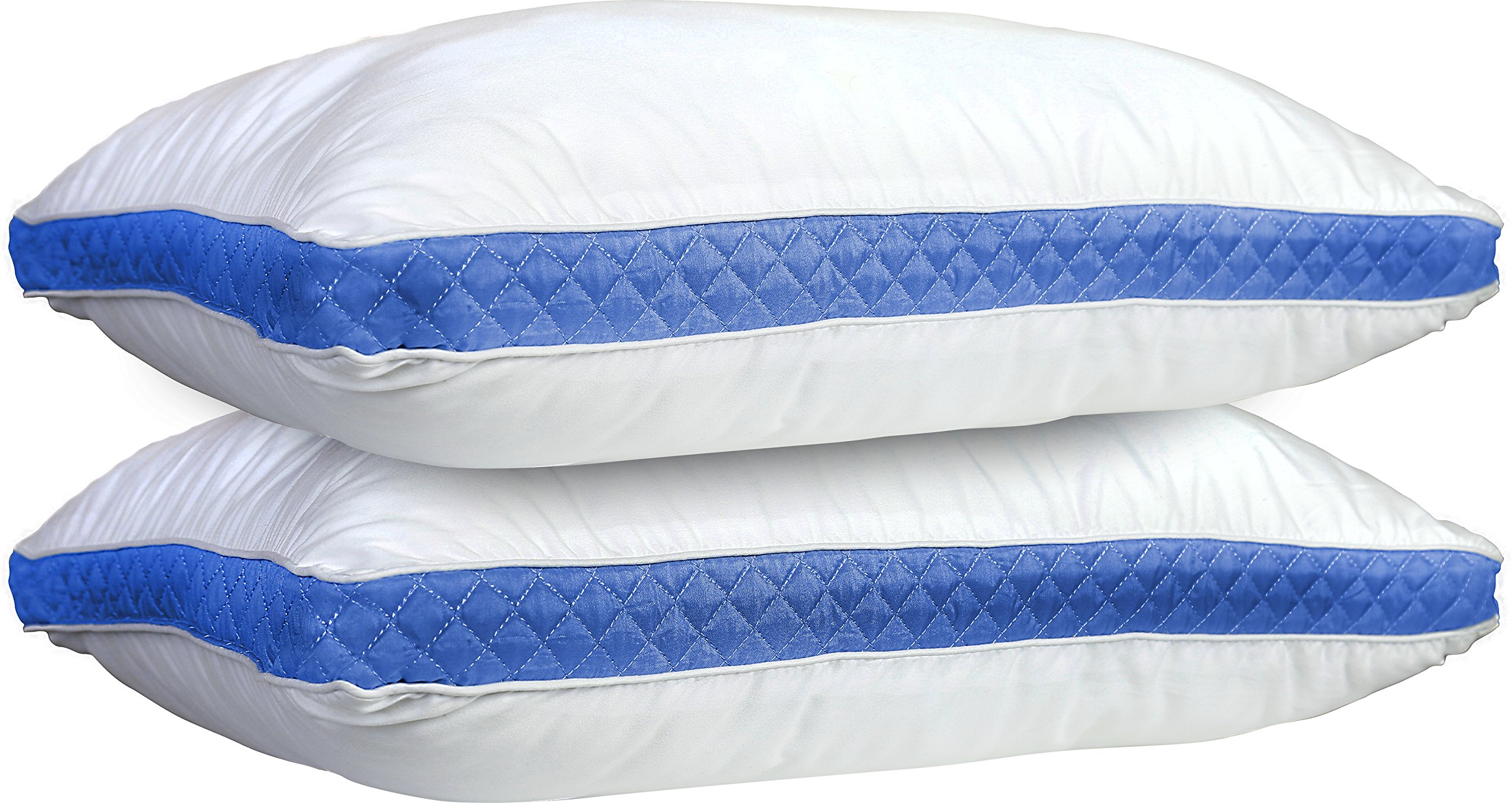 Lux Decor Collection Gusseted Quilted Bed Pillow - Set of 2 Premium Quality Bed Pillows for Side and Back Sleepers (King, Blue Gussets)