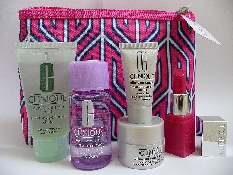 Clinique conjunto de regalo de viaje con bolsa de belleza contiene líquido jabón facial Mild 30 ml inteligente humectante SPF15 7 ml Smart Repair Serum 7 ml ...