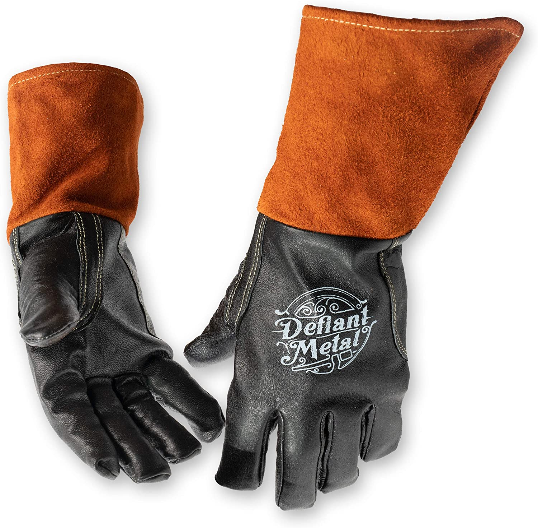 Medium Defiant Metal TIG Welding Gloves Premium Black Goat Skin