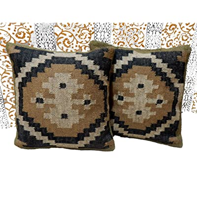 Handicraft Bazarr Outdoor Pillow Case 2 Pcs Killim Cushion Decorative Designer Throw Cushion Body Floor Pillow Sham Home Back Pillow Throw Indian Vintage Abstract Pattern (CC-85A): Home & Kitchen