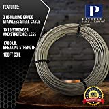 "Stainless Steel Aircraft Cable 1/8"" 1x19 Marine"