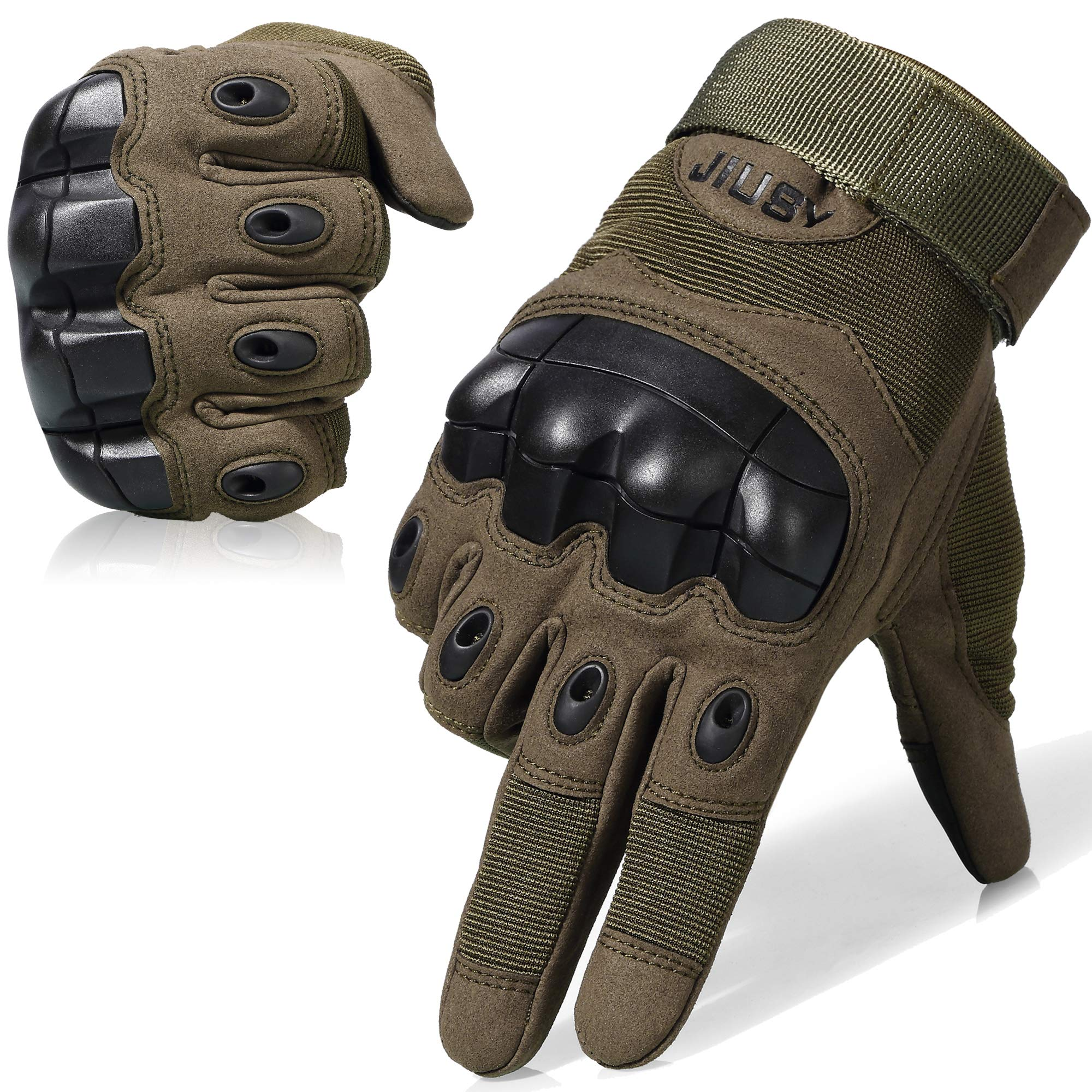 WTACTFUL Touch Screen Military Rubber Hard Knuckle Tactical Gloves Full Finger Airsoft Paintball Outdoor Army Gear Sports Cycling Motorcycle Riding Shooting Hunting Size Small Green
