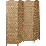 Relaxdays - Paravent - Brise-vue cloison de séparation ou séparateur pièce 4 panneaux en bois de bambou - Nature- 2 x 180 x 179 cm (Ref: 10020507_126)