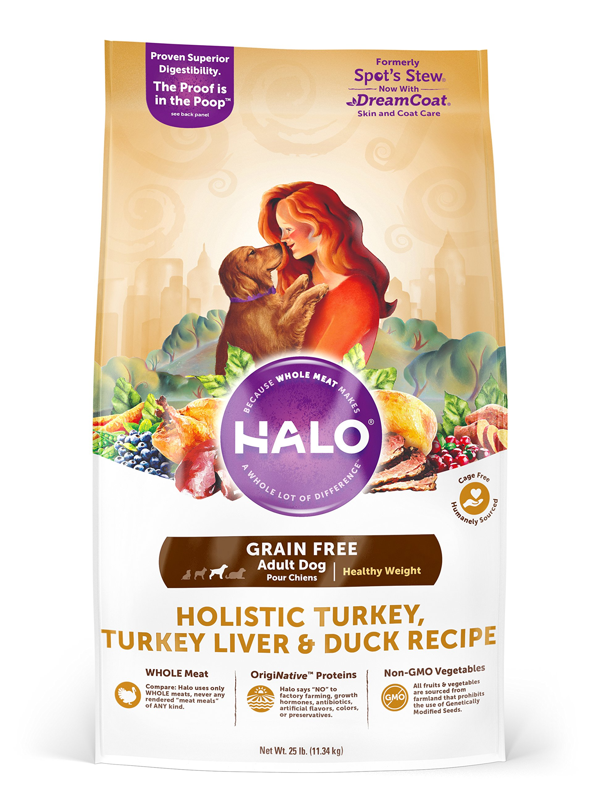 Halo Grain Free Natural Dry Dog Food, Healthy Weight Turkey, Turkey Liver & Duck Recipe, 25-Pound Bag